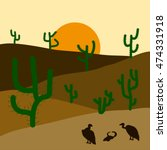 cactus plants in desert sunset... | Shutterstock .eps vector #474331918