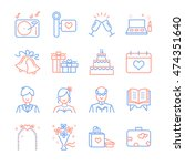 wedding line icons set 1 | Shutterstock .eps vector #474351640