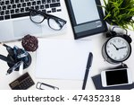 white office desk table with a... | Shutterstock . vector #474352318