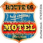 retro route sixty six motel... | Shutterstock .eps vector #474355306