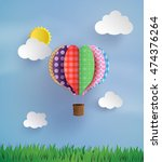 origami made colorful hot air... | Shutterstock .eps vector #474376264