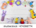 colorful soft baby toys on...