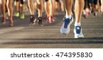marathon running in the light...   Shutterstock . vector #474395830