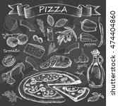 pizza on chalk board | Shutterstock .eps vector #474404860