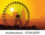 silhouette of a ferris wheel at ... | Shutterstock .eps vector #47441839