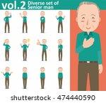 diverse set of senior man on... | Shutterstock .eps vector #474440590