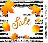 autumn sale banner with fall... | Shutterstock .eps vector #474442744
