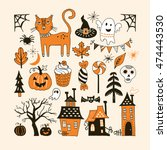 halloween holiday set with hand ... | Shutterstock .eps vector #474443530