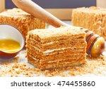 slice of layered honey cake...   Shutterstock . vector #474455860