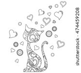 coloring book with cat and... | Shutterstock .eps vector #474459208