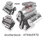 car engine. wireframe | Shutterstock .eps vector #474465970