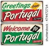 portugal travel retro sign... | Shutterstock .eps vector #474472714