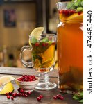 ginger tea with mint  lemon and ... | Shutterstock . vector #474485440