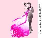 dance. elegant woman and man.... | Shutterstock . vector #474490570
