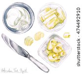 watercolor food clipart   butter | Shutterstock . vector #474492910