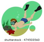 vector diver under the water... | Shutterstock .eps vector #474503560