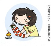 cute doodle girl with cup of...   Shutterstock . vector #474518824