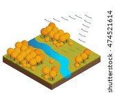 isometric flock of migrating... | Shutterstock .eps vector #474521614