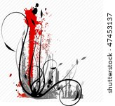 grey floral background with red ... | Shutterstock .eps vector #47453137