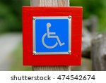 Small photo of disabled blue pictogram accessibility sign for wheelchair
