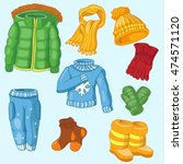 winter clothing set consisting... | Shutterstock .eps vector #474571120