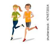 urban sports. couple running or ...   Shutterstock .eps vector #474572014