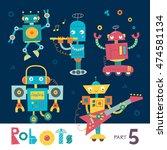 vector set of cartoon robots... | Shutterstock .eps vector #474581134