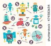 kids alphabet. vector robots in ... | Shutterstock .eps vector #474583654