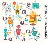 kids alphabet. vector robots in ... | Shutterstock .eps vector #474583684