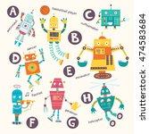 Kids Alphabet. Vector Robots I...