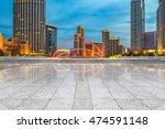 empty brick floor with city... | Shutterstock . vector #474591148