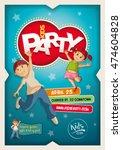 vector kids party poster design ... | Shutterstock .eps vector #474604828
