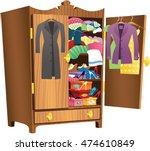 girls wooden wardrobe. | Shutterstock .eps vector #474610849