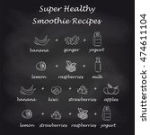 healthy smoothie recipes in... | Shutterstock .eps vector #474611104