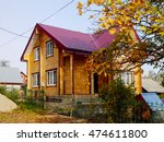 Russian Wooden House With Red...