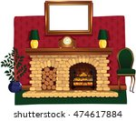 log fire and hearth. | Shutterstock .eps vector #474617884