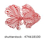 fish painted tribal ethnic... | Shutterstock .eps vector #474618100