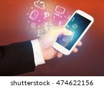 hand holding smartphone with... | Shutterstock . vector #474622156