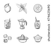 a set of lemonade ingredients. ... | Shutterstock .eps vector #474625690