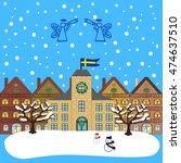 winter city flat landscape.... | Shutterstock .eps vector #474637510
