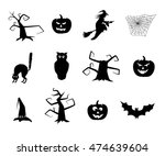 vector black halloween items.  | Shutterstock .eps vector #474639604