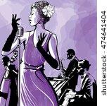 jazz singer with saxophone ... | Shutterstock .eps vector #474641404