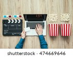 man holding a ticket and... | Shutterstock . vector #474669646