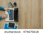 man working at desk and...   Shutterstock . vector #474670618