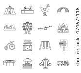 amusement park icons set in... | Shutterstock .eps vector #474672118
