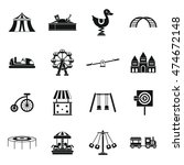 Amusement Park Icons Set In...