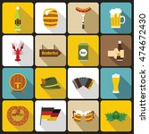 oktoberfest icons set in flat...   Shutterstock .eps vector #474672430