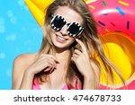 summer beach style portrait a... | Shutterstock . vector #474678733