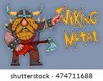 viking rock star  metal  music ... | Shutterstock . vector #474711688