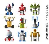 set of cute vintage robots... | Shutterstock .eps vector #474716128
